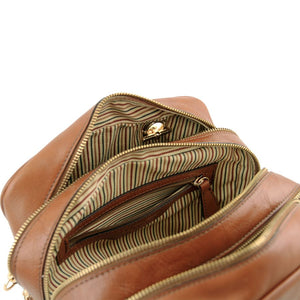 Internal Zipper Pocket View Of The Dark Taupe Neo Classic Leather Handbag - Chain and Leather Handles -Tassels