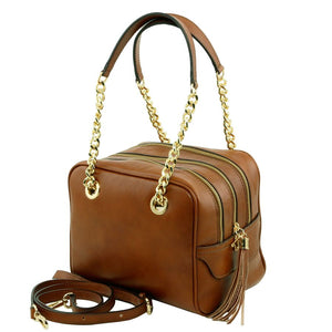 Angled View Of The Dark Taupe Neo Classic Leather Handbag - Chain and Leather Handles -Tassels