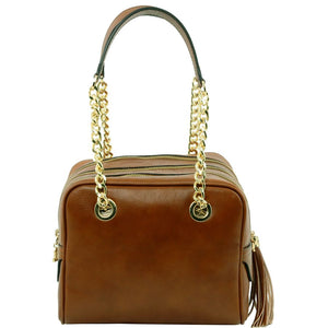 Front View Of The Dark Taupe Neo Classic Leather Handbag - Chain and Leather Handles -Tassels