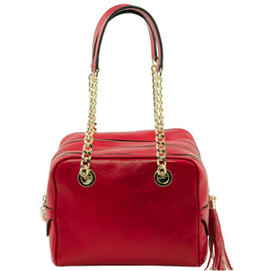 Front View Of The Red Neo Classic Leather Handbag - Chain and Leather Handles -Tassels