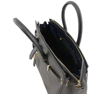 Top Angled Open View Of The Black Leather Womens Handbag