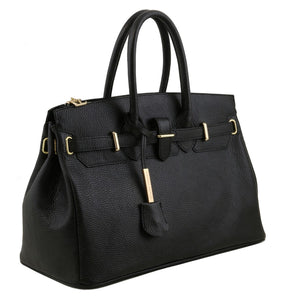 Angled View Of The Black Leather Womens Handbag