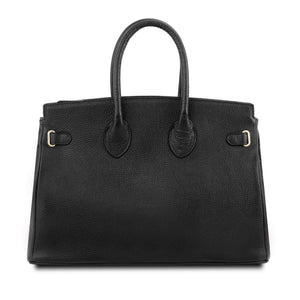 Rear View Of The Black Leather Womens Handbag
