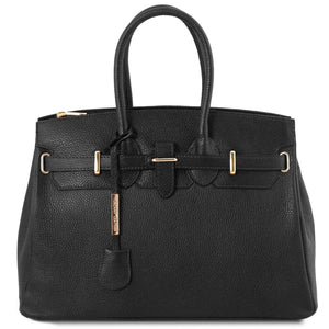 Front View Of The Black Leather Womens Handbag