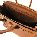 Internal Zip Pocket View Of The Cognac Leather Womens Handbag