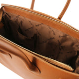 Internal View Of The Cognac Leather Womens Handbag
