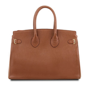 Rear View Of The Cognac Leather Womens Handbag