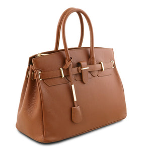 Angled View Of The Cognac Leather Womens Handbag
