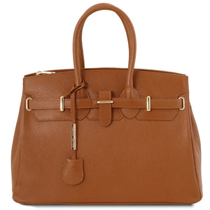 Front View Of The Cognac Leather Womens Handbag
