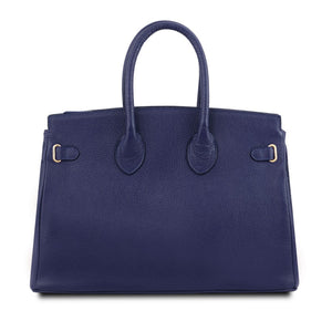 Rear View Of The Dark Blue Leather Womens Handbag