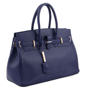 Angled View Of The Dark Blue Leather Womens Handbag