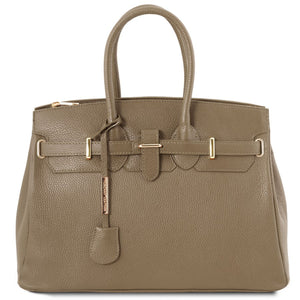 Front View Of The Dark Taupe Leather Womens Handbag