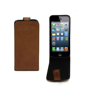 Front And Rear View Of The Honey Leather iPhone 5 and SE Holder