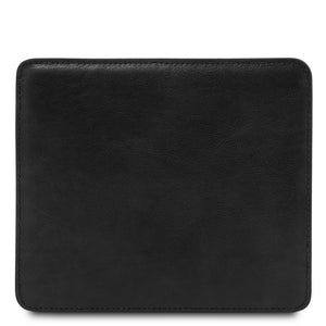 Front View Of The Black Leather Mouse Pad