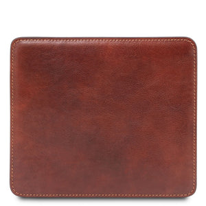 Front View Of The Brown Leather Mouse Pad