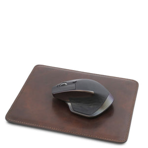 Angled With Mouse View Of The Dark Brown Leather Mouse Pad