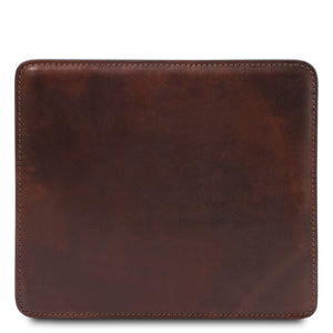 Front View Of The Dark Brown Leather Mouse Pad