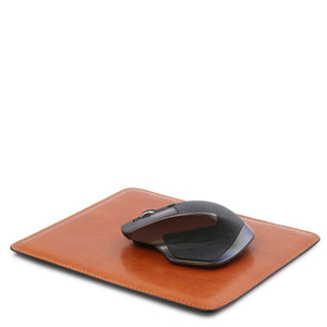 Angled With Mouse View Of The Honey Leather Mouse Pad
