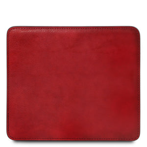 Front View Of The Red Leather Mouse Pad
