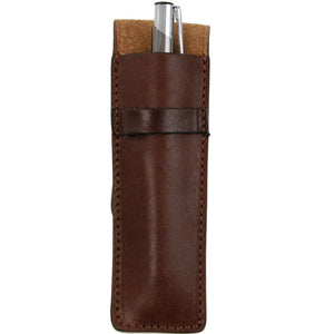 Front Featured View Of The Brown Leather Pen Holder With A Pen
