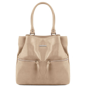 Front View Of The Light Taupe Leather Shoulder Bag With Outside Pockets