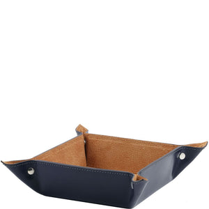 Angled View Of The Blue Large Leather Desk Tidy Tray