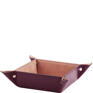 Angled View Of The Purple Large Leather Desk Tidy Tray