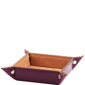 Angled View Of The Purple Small Leather Desk Tidy Tray