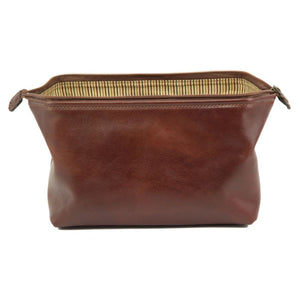 Toiletry Bag Zip Closure View Part Of The Brown Columbus Leather Travel Set