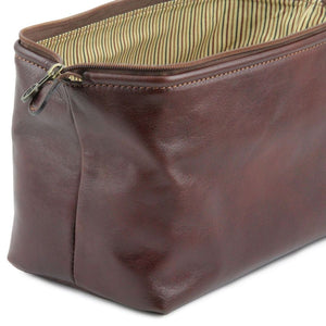 Toiletry Bag Internal Angled View Part Of The Brown Columbus Leather Travel Set