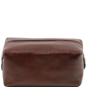 Toiletry Bag Front View Part Of The Brown Columbus Leather Travel Set