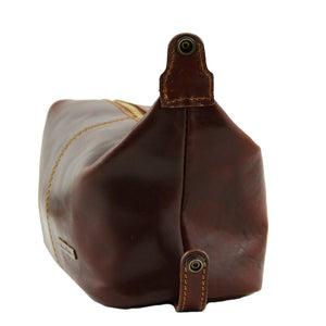 Side View Of The Brown Mens Leather Wash Bag