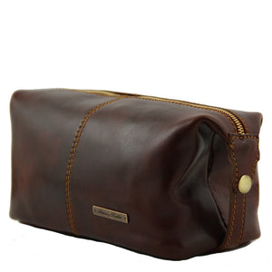 Angled View Of The Brown Mens Leather Wash Bag