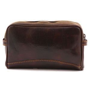 Rear View Of The Dark Brown Leather Toiletry Bag