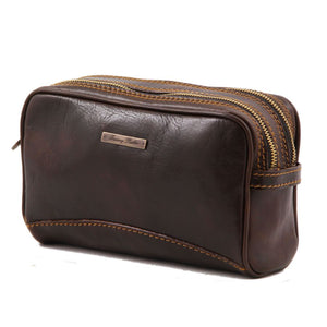 Angled View Of The Dark Brown Leather Toiletry Bag