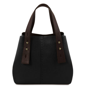 Leather Two Toned Shopping Bag