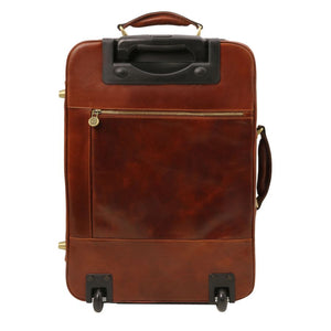Voyager Vertical 4 Wheeled Leather Luggage Trolley