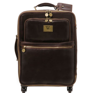 Front View Of The Dark Brown 4 Wheeled Luggage