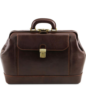 Front View Of The Dark Brown Italian Leather Doctors Bag