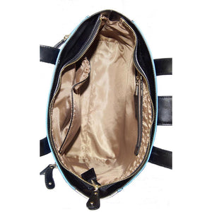 Internal View Of The Blue And Cream Lisa Womens Genuine Leather Handbag