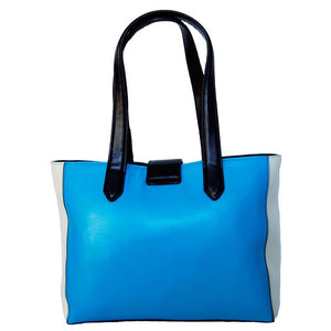 Rear View Of The Blue And Cream Lisa Womens Genuine Leather Handbag