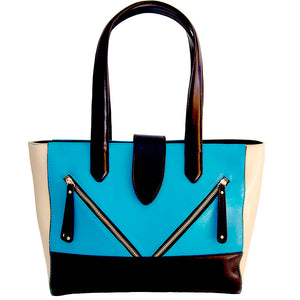 Front View Of The Blue And Cream Lisa Womens Genuine Leather Handbag