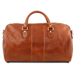 Rear View Of The Honey  Leather Duffle Bag Large