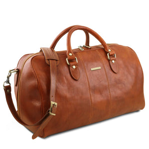 Angled View Of The Honey  Leather Duffle Bag Large