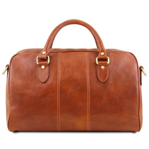 Rear View Of The Honey Leather Travel Bag Small
