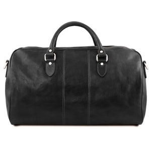 Rear View Of The Black Leather Duffle Bag Large