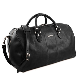 Angled View Of The Black Leather Duffle Bag Large