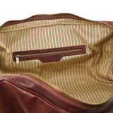 Internal Zip Pocket View Of The Brown Leather Duffle Bag Large