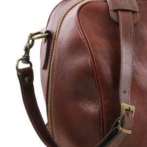Shoulder Strap Attachment View Of The Brown Leather Duffle Bag Large