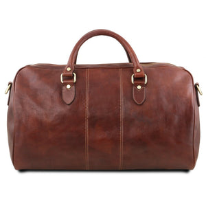 Rear View Of The Brown Leather Duffle Bag Large